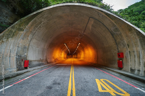Stampa su Tela Entrance into the long tunnel in the mountains