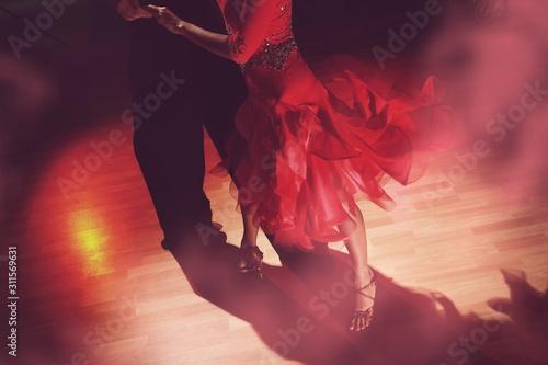 Man and woman dancing Salsa on dark Canvas Print