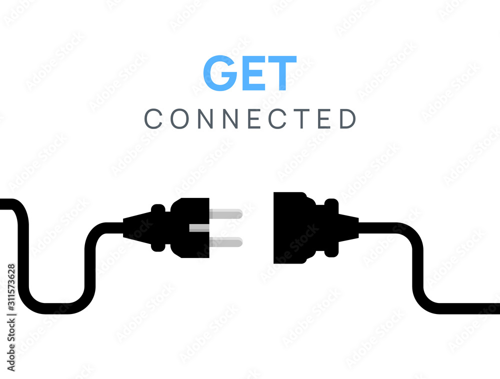 Fototapeta Electric Plug connect concept socket. Get connected or disconnect vector power plug cable illustration