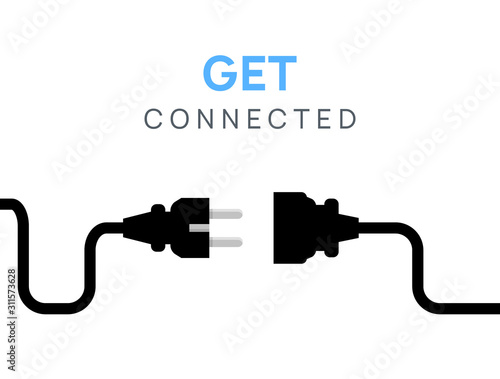 Fototapeta Electric Plug connect concept socket. Get connected or disconnect vector power plug cable illustration obraz