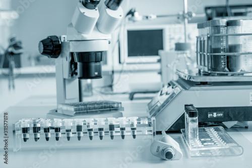 Photo Scientific microscope in the laboratory of forensics
