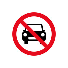 Car Forbidden Icon, Vehicle Prohibited Symbol Sign, No Car Parking