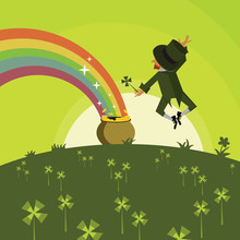 Leprechaun With A Pot Of Gold ...