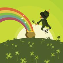 Leprechaun With A Pot Of Gold Cartoon And Rainbow Vector Illustration. Cute Cartoon Leprechaun From Back View
