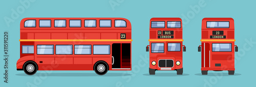 Fotografía London double decker red bus cartoon illustration, English UK british tour front
