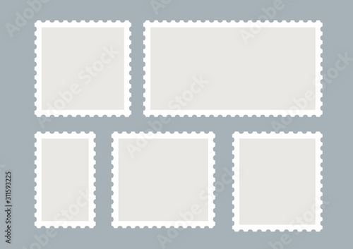 Blank postage stamps vector set isolated Wallpaper Mural