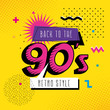 poster of back to the nineties retro style pop art vector illustration design