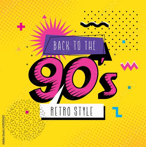 Valokuvatapetti poster of back to the nineties retro style pop art vector illustration design