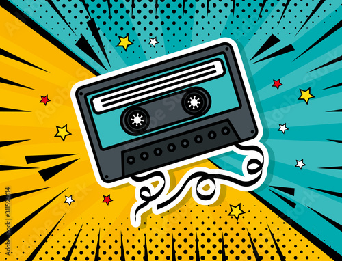 music cassette pop art style vector illustration design