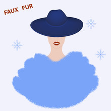 Lady In Elegant Hat With Brim And Fur Coat, Stole, Cape, Long Pile - Vector. Artificial Fur. Winter Clothes. Headdress Female.