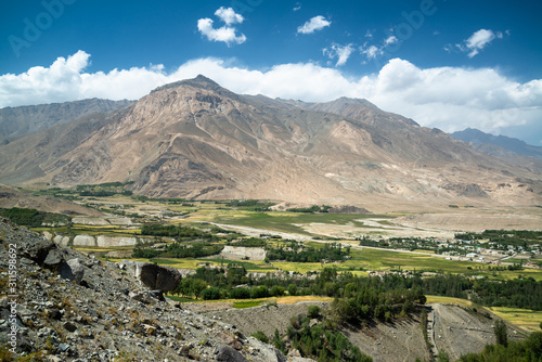 View to Ishkashim city from mountain in Afghanistan Wallpaper Mural