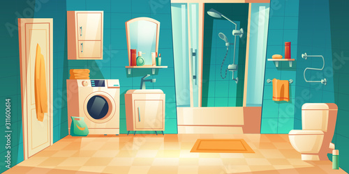 Modern bathroom interior with furniture cartoon vector illustrations Fotobehang