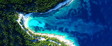 Aerial Drone Ultra Wide Photo Of Secluded Turquoise Exotic Paradise Bay With Sandy Beach