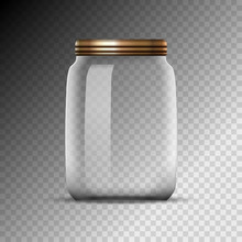 Empty Glass Jar Isolated On Tr...