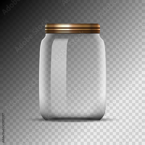 Empty glass jar isolated on transparent background Tableau sur Toile