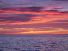 Beautiful Orange Purple Sunset Over North Norfolk Coast
