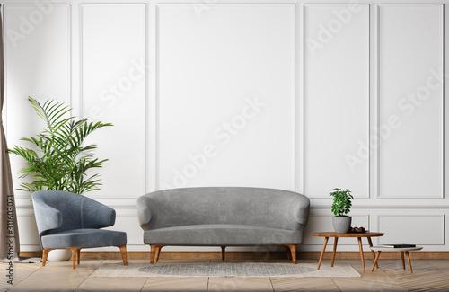 Fotografie, Obraz stay home mock up empty wall of Stylish new classic interior white gray backgrou