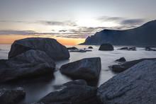Long Exposure Of A Rocky Coast...