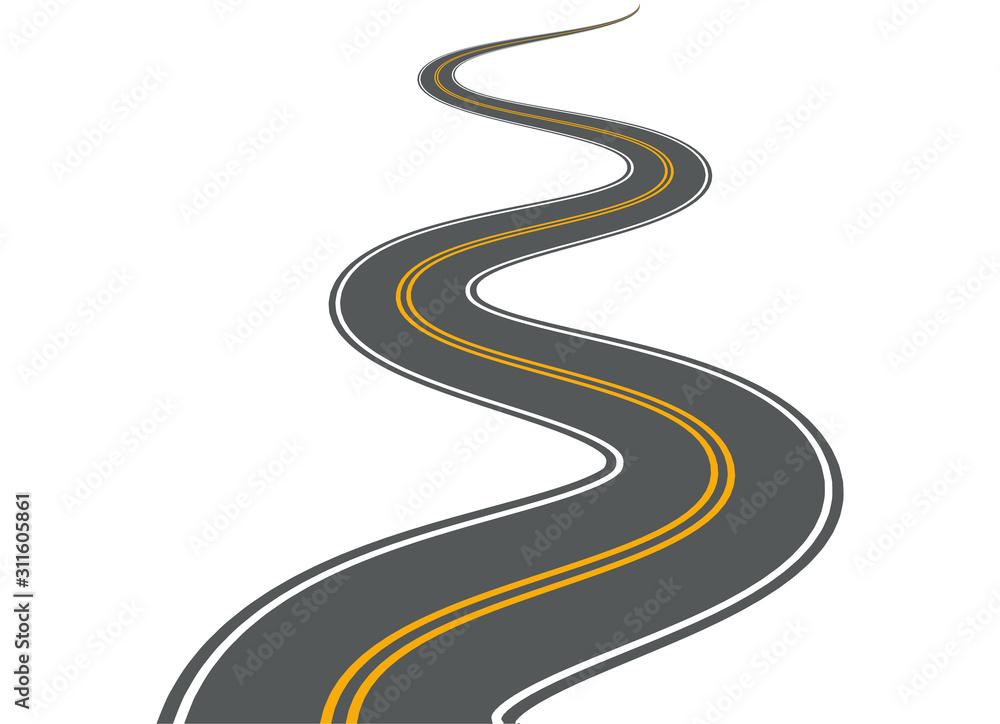 Fototapeta Winding road vector highway path long street asphalt isolated perspective road way journey illustration
