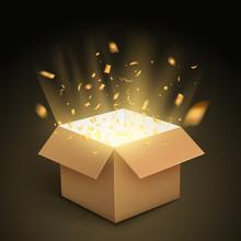 Gift Box Confetti Explosion. Magic Open Surprise Gift Box Package Decoration