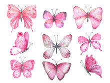 Set Of Watercolor Pink Butterflies.