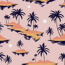 Vintage Seamless Island Pattern. Colorful Summer Tropical Background. Landscape With Palm Trees, Beach And Ocean. Flat Design, Vector. Good For Textile, Fabric, T-shirt, Wallpaper, Wrapping.