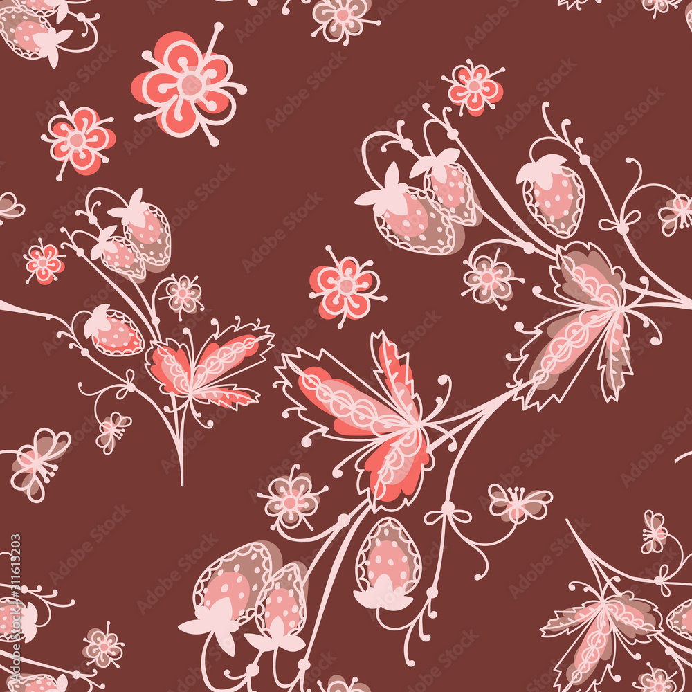 Art folk motif seamless pattern. Floral botanical repeat background. Cute decorative flowers, plants and berries.