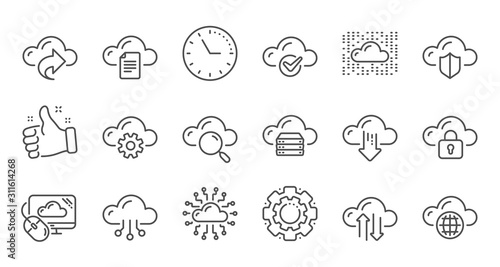 Computer cloud icons. Hosting, Computing data and File storage. Computer sync technology linear icon set. Quality line set. Vector