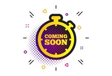 Coming Soon Sign Icon. Halftone Dots Pattern. Promotion Announcement Symbol. Classic Flat Coming Soon Icon. Vector