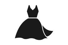 Women Blue Dress Icon Vector Illustration