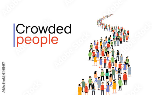 Fototapeta Vector people group crowd social team large person together people network communication obraz