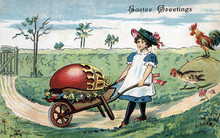 Girl With Wheel Barrow, A Very Large Ornated Decorated Red Egg. Vintage Easter Postcard Greeting Card