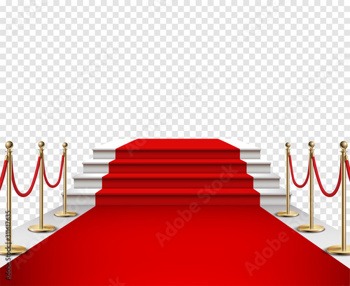 Red carpet and golden barriers realistic 3d illustration Canvas Print