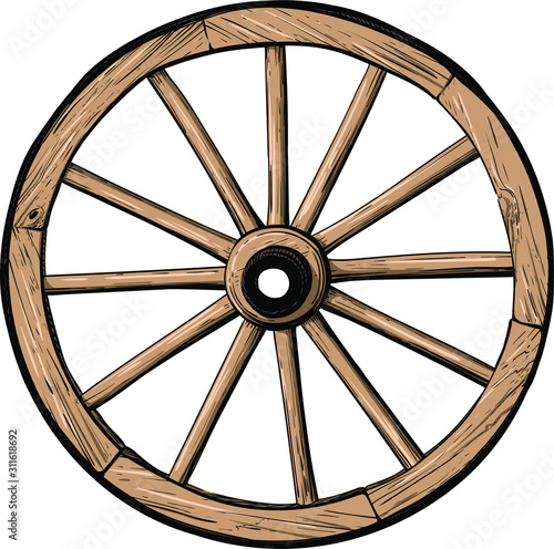 Fototapeta old classic wooden wheel from cart or stagecoach color isolated on white background obraz
