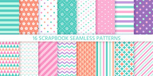 Scrapbook Seamless Pattern. Vector. Cute Chic Print. Set Textures With Polka Dot, Stripe, Zigzag, Flower, Heart And Fish Scale. Pastel Illustration. Retro Backgrounds. Geometric Trendy Color Backdrop.