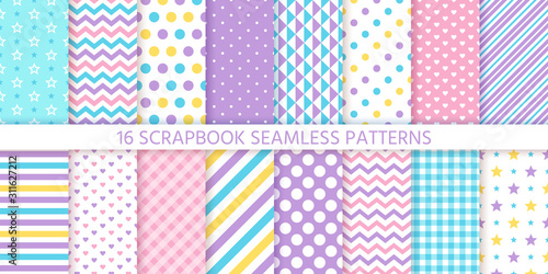 obraz PCV Scrapbook seamless pattern. Vector. Cute chic backgrounds. Set textures with polka dots, stripes, zigzag, hearts, check and stars. Retro print. Pastel illustration. Geometric trendy color backdrop.