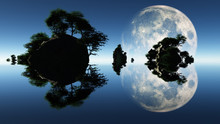 Large Moon And Islets. Endless...
