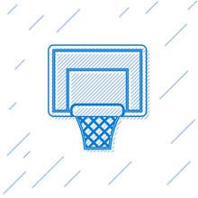 Blue Line Basketball Backboard Icon Isolated On White Background. Vector Illustration