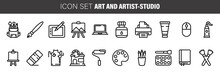 Set Of Linear Icons. Art And Artist-studio Tools And Supplies For Scrapbooking