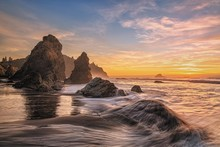 Colorful Sunset Seascape At A Northern California Beach