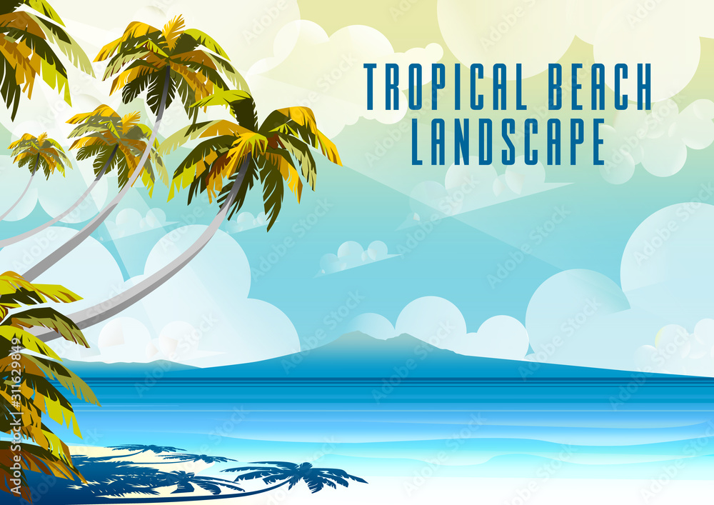 Fototapeta Polynesia Tahiti Tropical Beach Landscape with Palm Trees and island in the background.