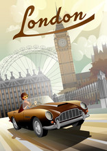 A Young Girl Driving A Retro Car On The Background Of Nglish Houses And The Big Ben In London.