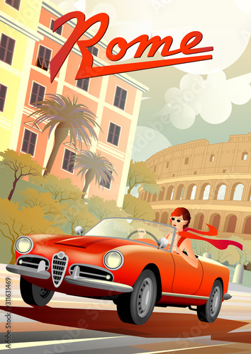 Photo A young girl driving a retro car on the background of Roman houses and the Coliseum