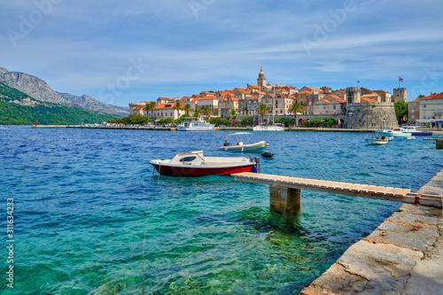 Croatia, island of Korcula view of the city of Korcula