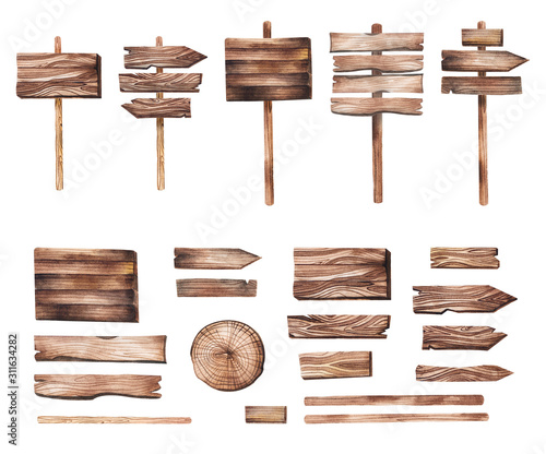 Obraz Hand drawn wooden pointers, plates, boards, direction indicators, cut wood watercolor illustration in rustic style. Isolated wooden decorative elements for invitations, wedding, greeting cards and DIY - fototapety do salonu
