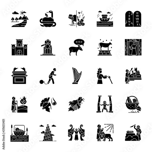 Bible narratives glyph icons set Fotobehang