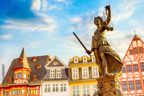 Fototapeta Old town square Romerberg with Justitia statue in Frankfurt Main, Germany with blue sky obraz
