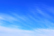 Beautiful blue sky and white cirrus clouds. Background. Texture. Scenery.