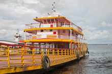 Boats And Shops On The River, Manaus, Brazil, South America