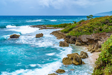 Beautiful Tropical Caribbean Island Landscape View. Scenic Summer Vacation Ocean Coast Cliffs Setting. High Precipice Coastline Shore Meets The Sea. Coastal Mountain Rocks In Saint Mary Parish,Jamaica